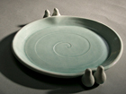 Thrown Porcelain Dish with Bird additions and Turquoise Glaze