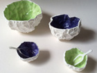 Bone china crumples with spoons